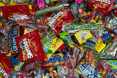 Looking down at large pile of candy