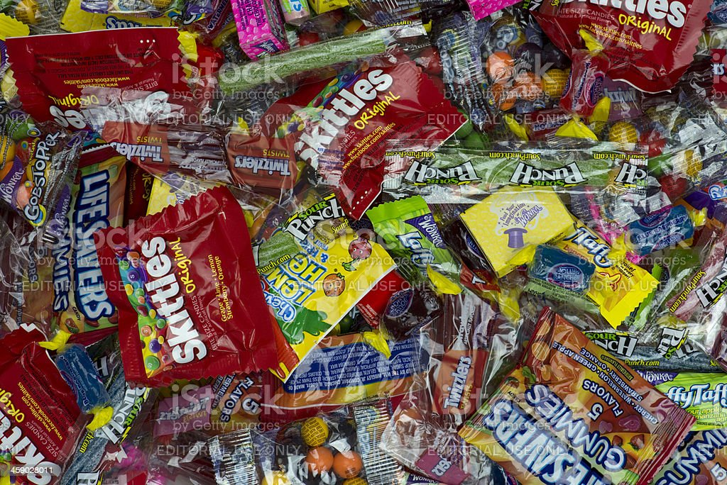 Looking down at large pile of candy stock photo