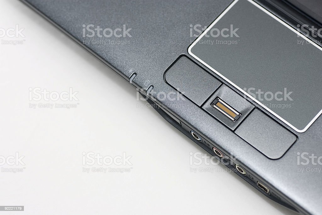 Looking down at notebook touchpad royalty-free stock photo