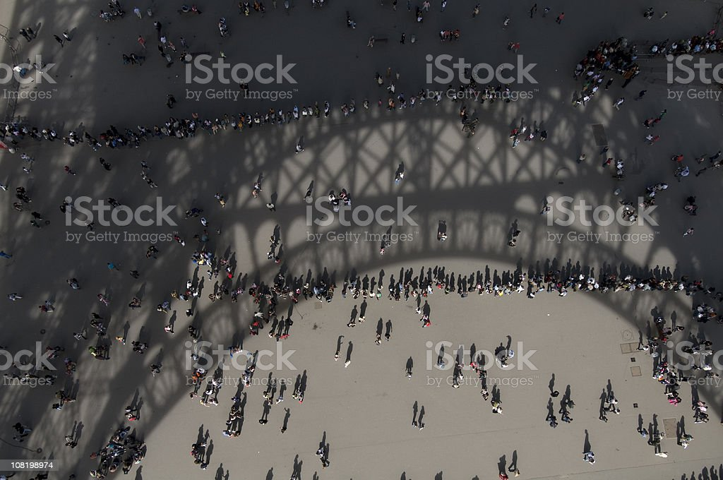 Looking Down at People Waiting in Line for Eifflel Tower stock photo