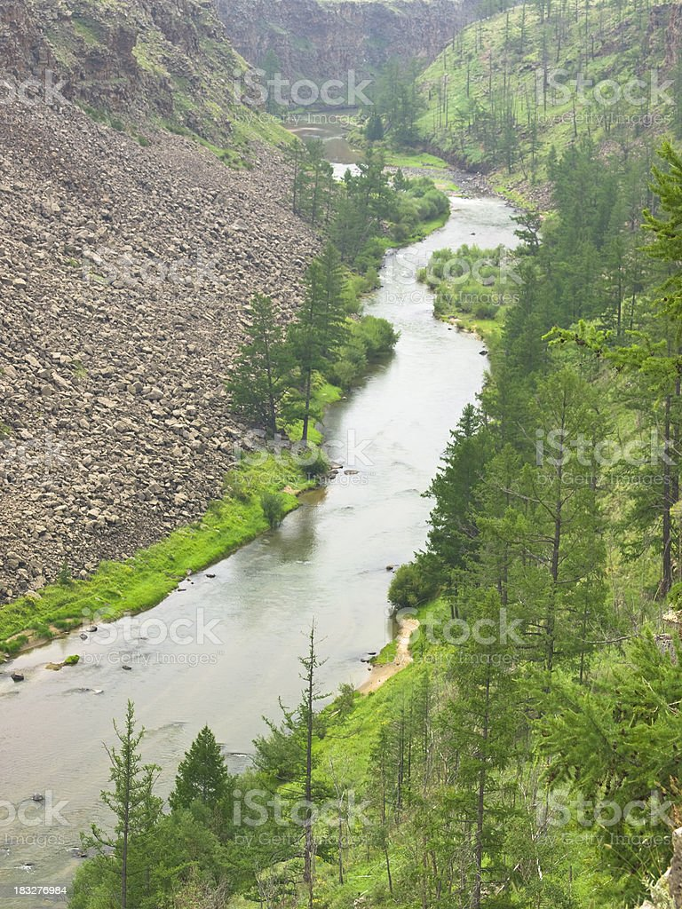 Looking down at the River Chulut in Central Mongolia royalty-free stock photo