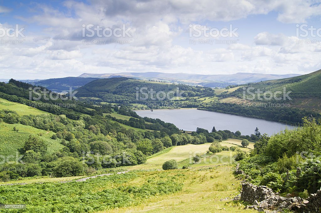 Looking down at the Talybont Reservoir on a summers day stock photo