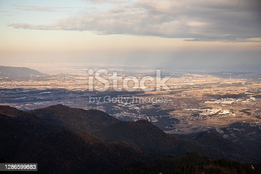 istock Looking down at Yokkaichi city from mountains view 1286599883