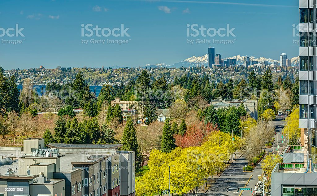 Looking down Bellevue City Streets to Seattle stock photo