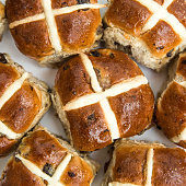 istock Looking Down from above onto batch baked Easter Hot Cross Buns 1097492980