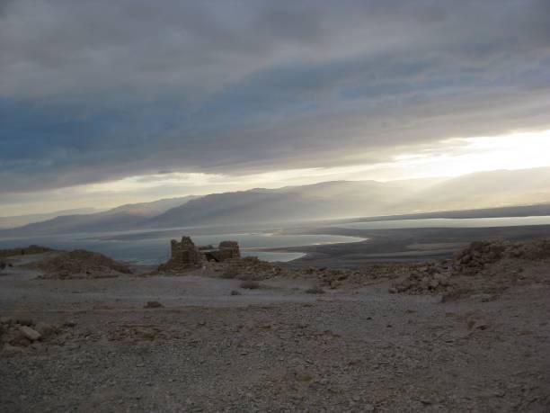 Looking Down from Masada stock photo
