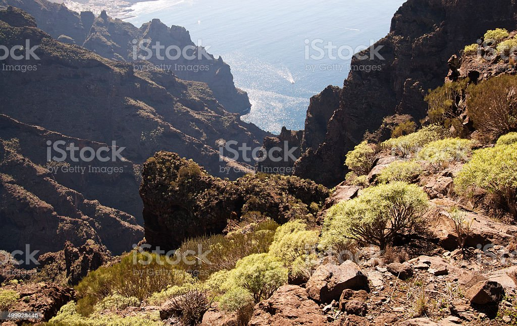 looking down from mountain to Atlantic Ocean and Los Gigantes stock photo
