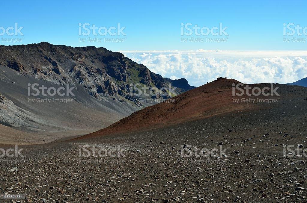 Looking down in the Haleakala Crater, Maui island, Hawaii stock photo