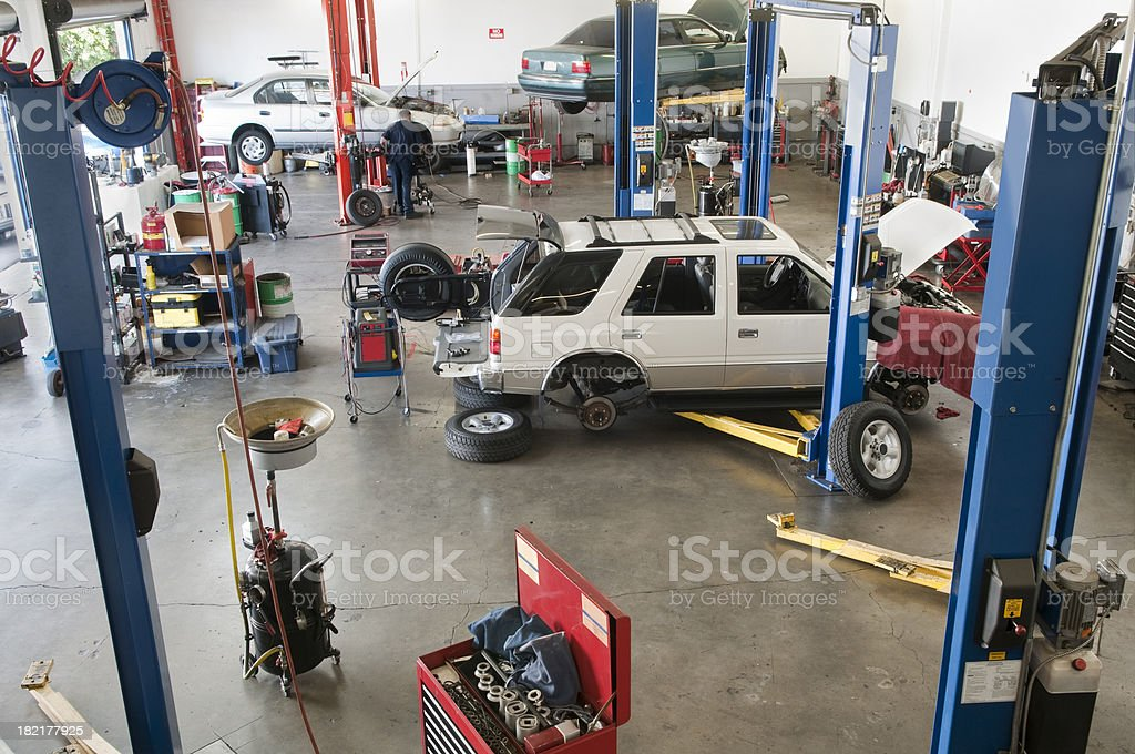 Looking Down into Auto Repair Garage royalty-free stock photo