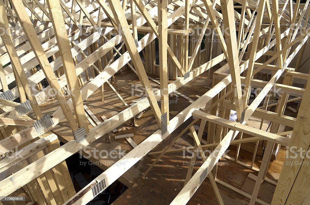 Looking down into the house under construction royalty-free stock photo