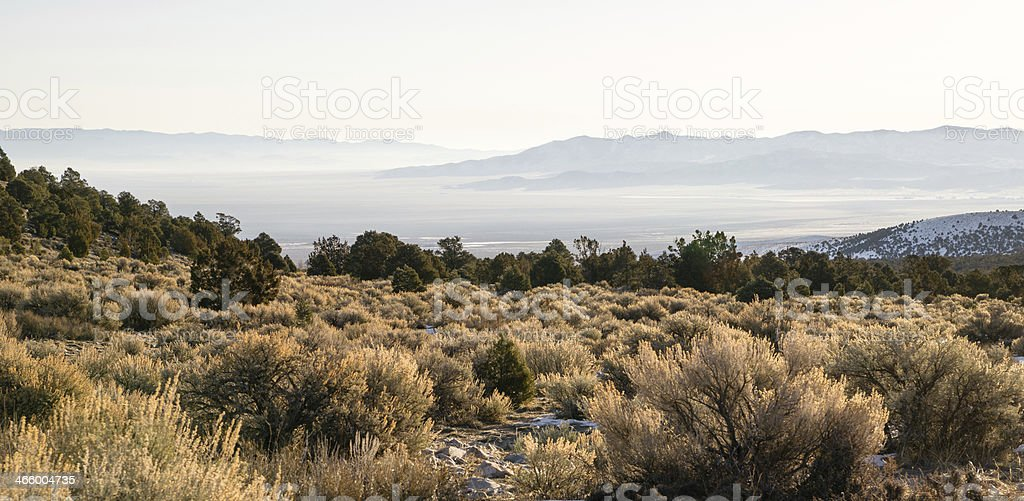Looking Down Mountain Into Great Basin Nevada Desert Southwest stock photo