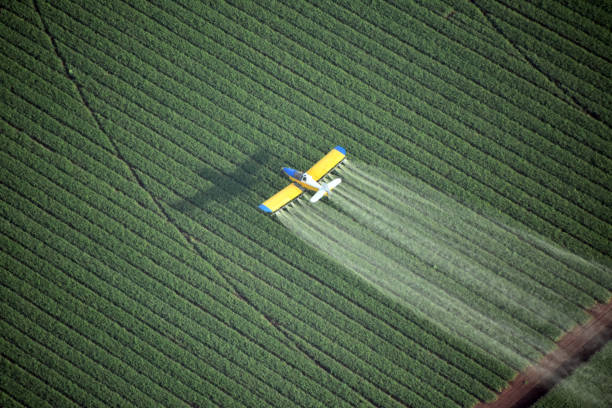 Looking down on a crop duster stock photo