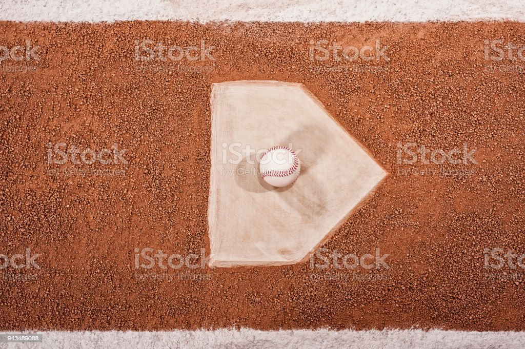 Looking down on a new baseball sitting on home plate stock photo