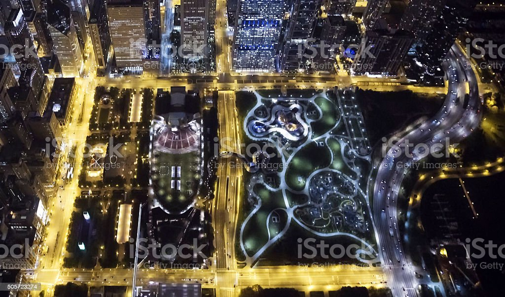 Looking Down on Chicago's Millennium Park and Maggie Daley Park stock photo
