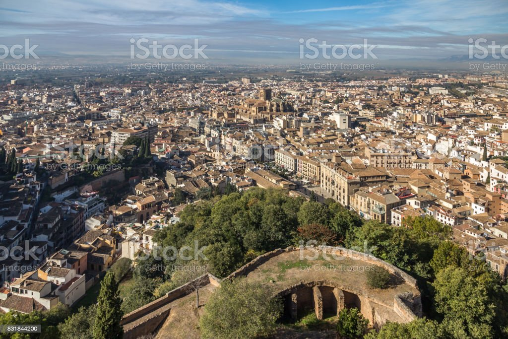 Looking down on Granada city from the Alhambra, Spain stock photo