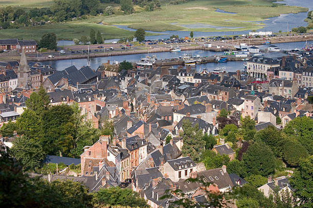 Looking Down on Honfleur stock photo