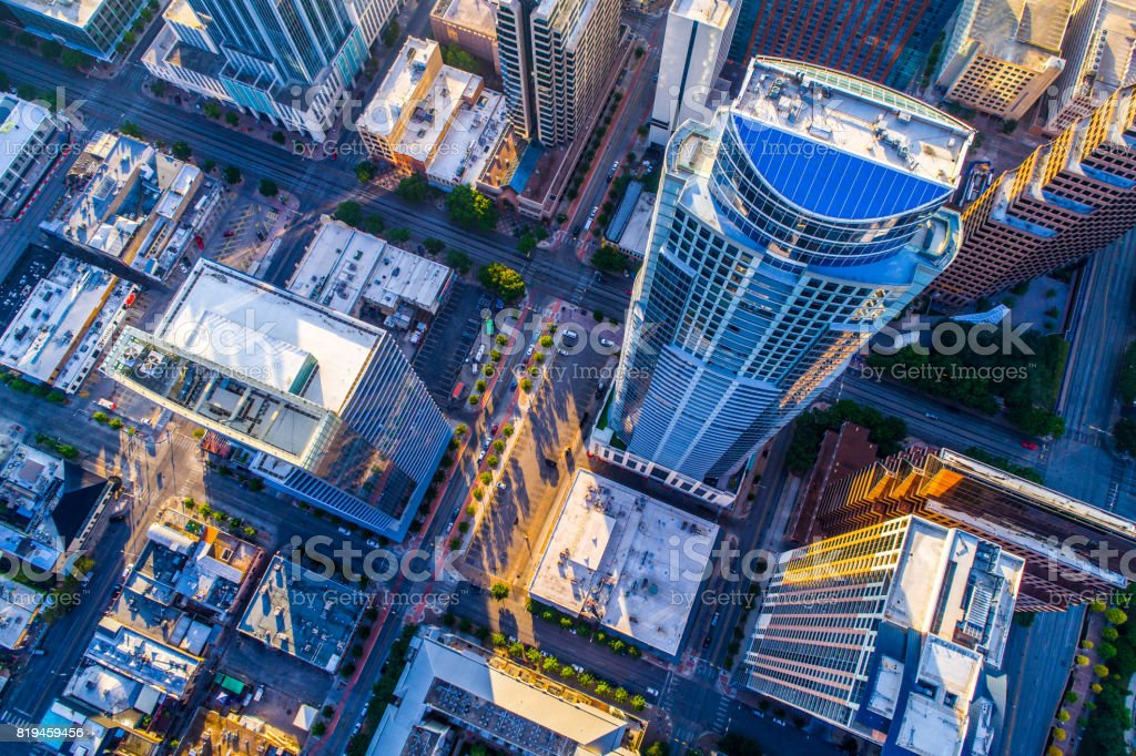 Looking down on one of the Tallest Residential Skyscrapers in Texas stock photo