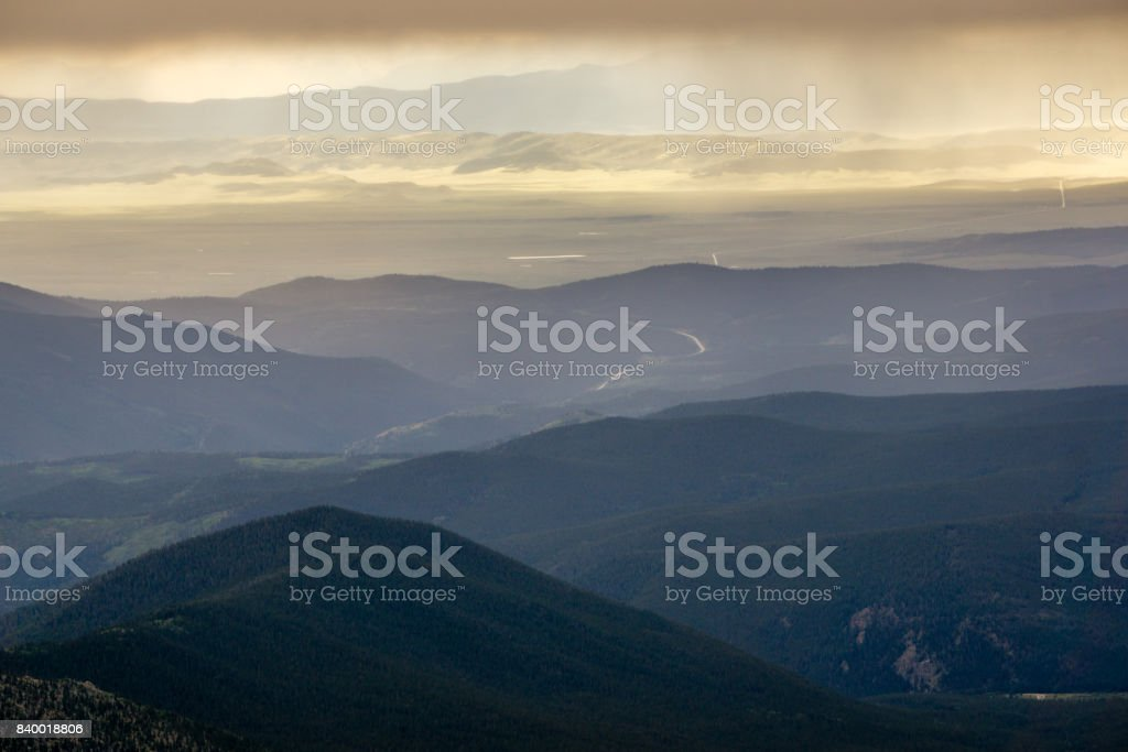 Looking Down on South Park, Colorado stock photo