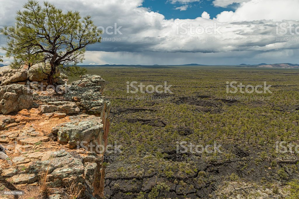 Looking down on the old lavaflows of El Malpais. royalty-free stock photo