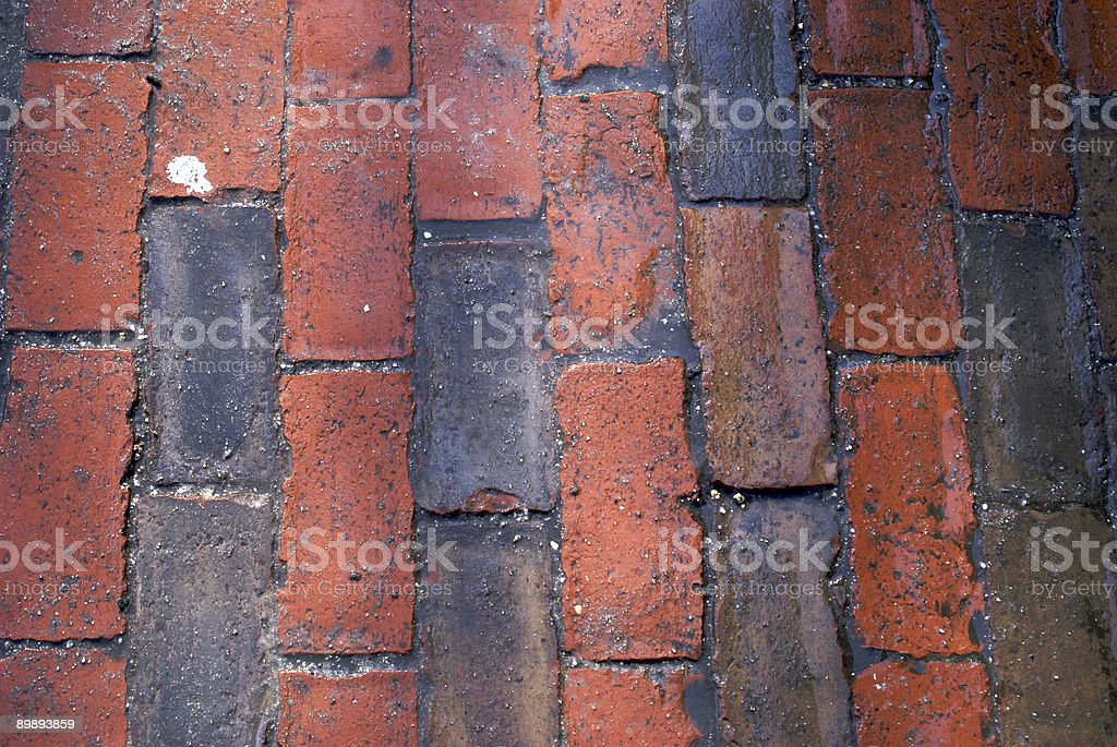 looking down on wet brick sidewalk royalty-free stock photo