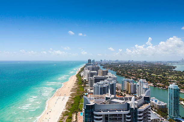 Looking down South beach on a beautiful day stock photo