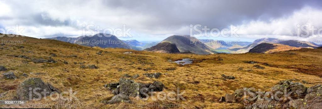 Looking down the Ennerdale and Buttermere valleys stock photo