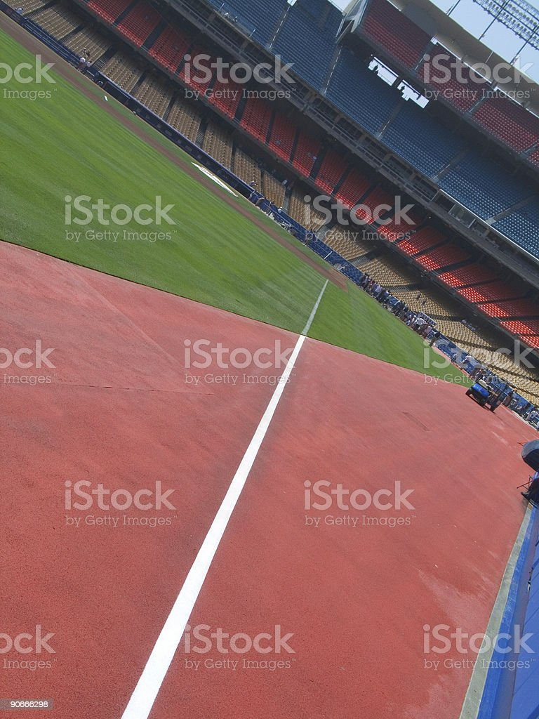 Looking down the foul line stock photo