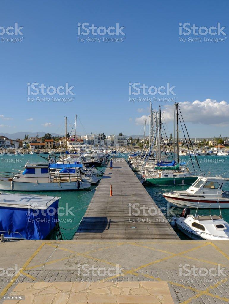 Looking down the jetty at Zygi's Marina stock photo