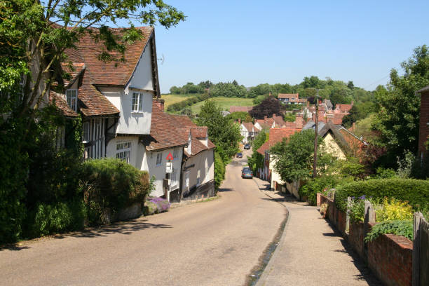 Looking down the main street in Kersey stock photo