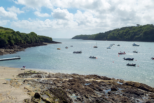 Looking down the picturesque Helford Estuary rural Helford Passage, Cornwall, UK.
