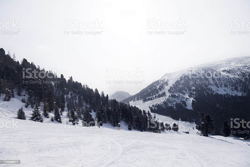 Looking down the ski slope royalty-free stock photo