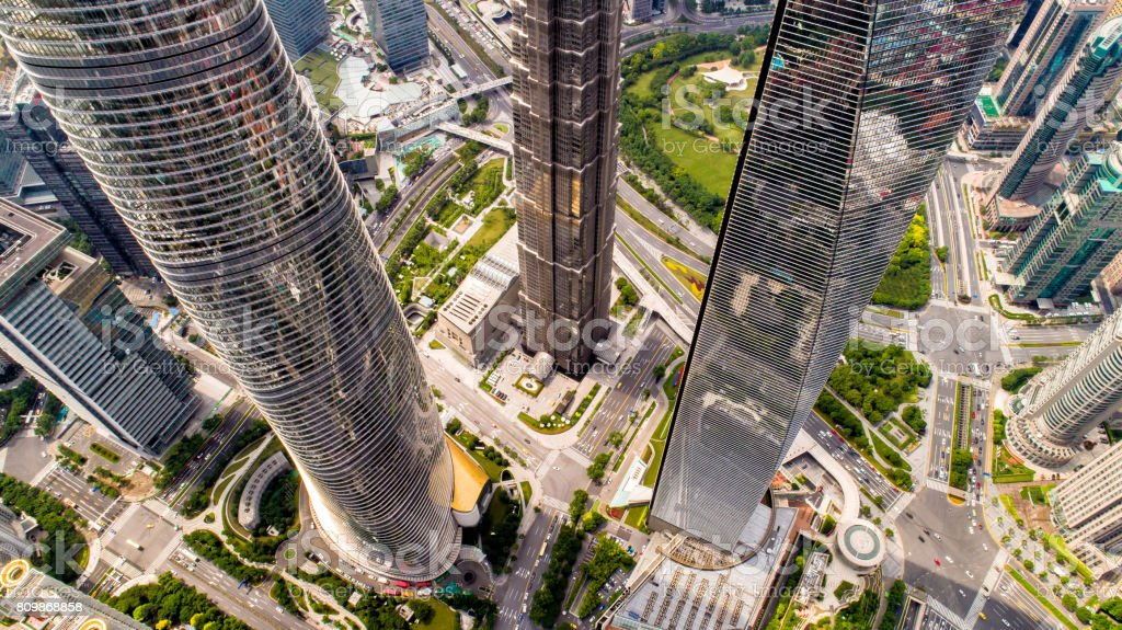 looking down the towers stock photo