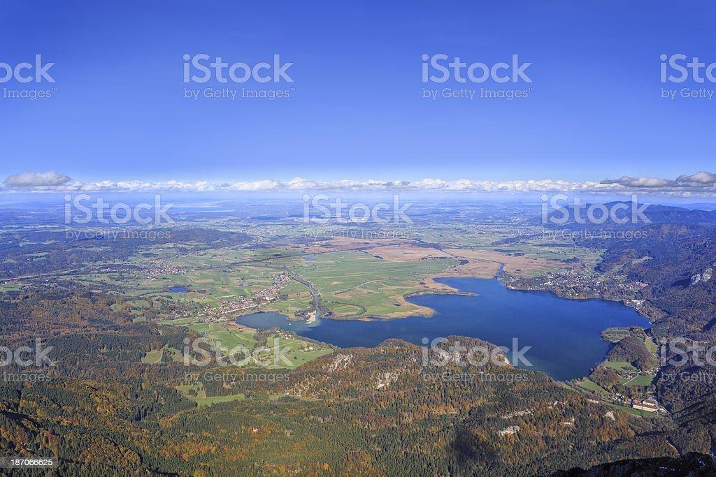 Looking down to Lake Kochel / Kochelsee stock photo