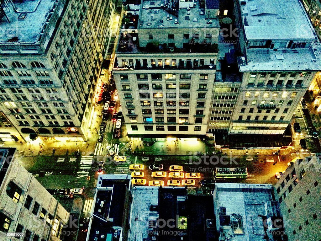 looking down to New York City stock photo