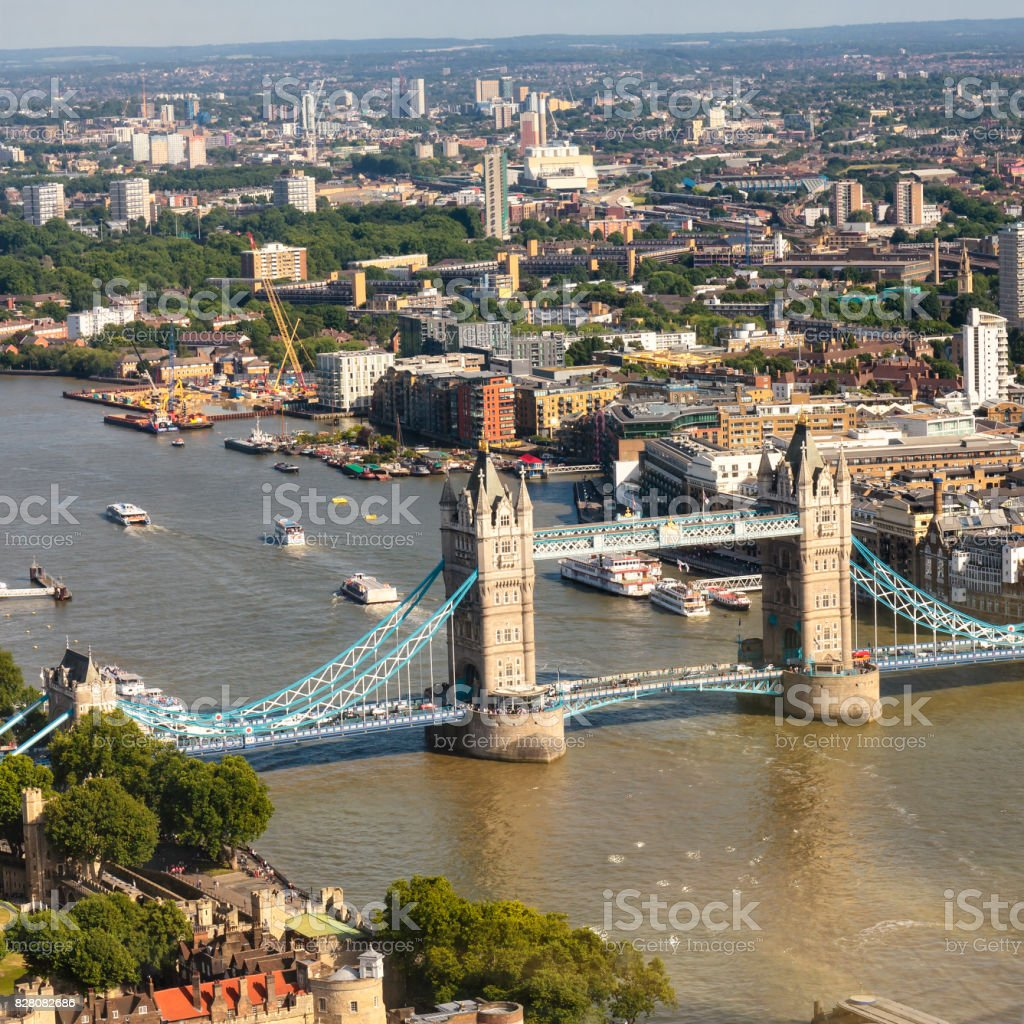 Looking down Tower Bridge and the Thames at day stock photo