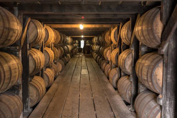 Looking Down Walkway in Bourbon Aging Warehouse stock photo