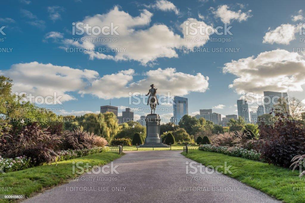 Looking Down Walkway to Washington Statue in Boston Public Garden stock photo