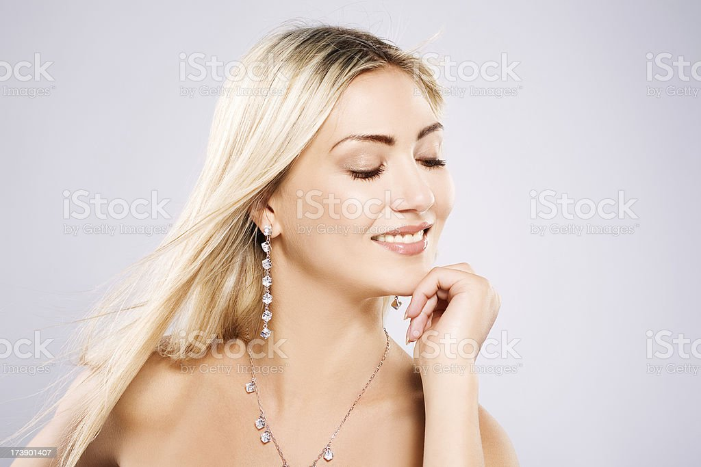 looking down woman wearing jewel royalty-free stock photo