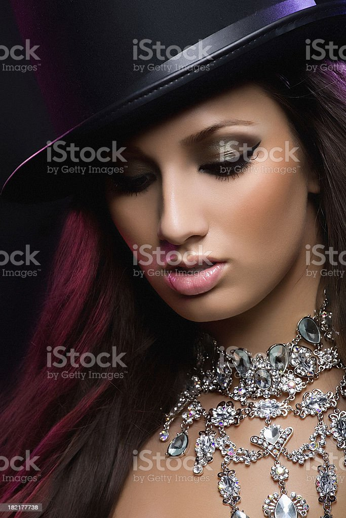 looking down woman with luxury necklace royalty-free stock photo