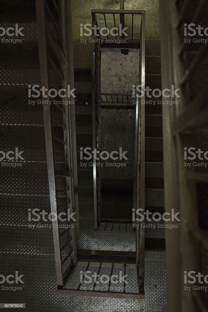 Looking downward through metal stairwell royalty-free stock photo