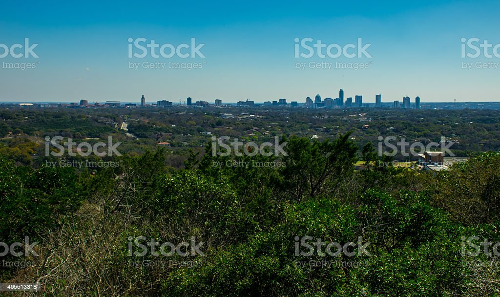 Looking East Mount Bonnell Overlook Austin Skyline UT tower stock photo