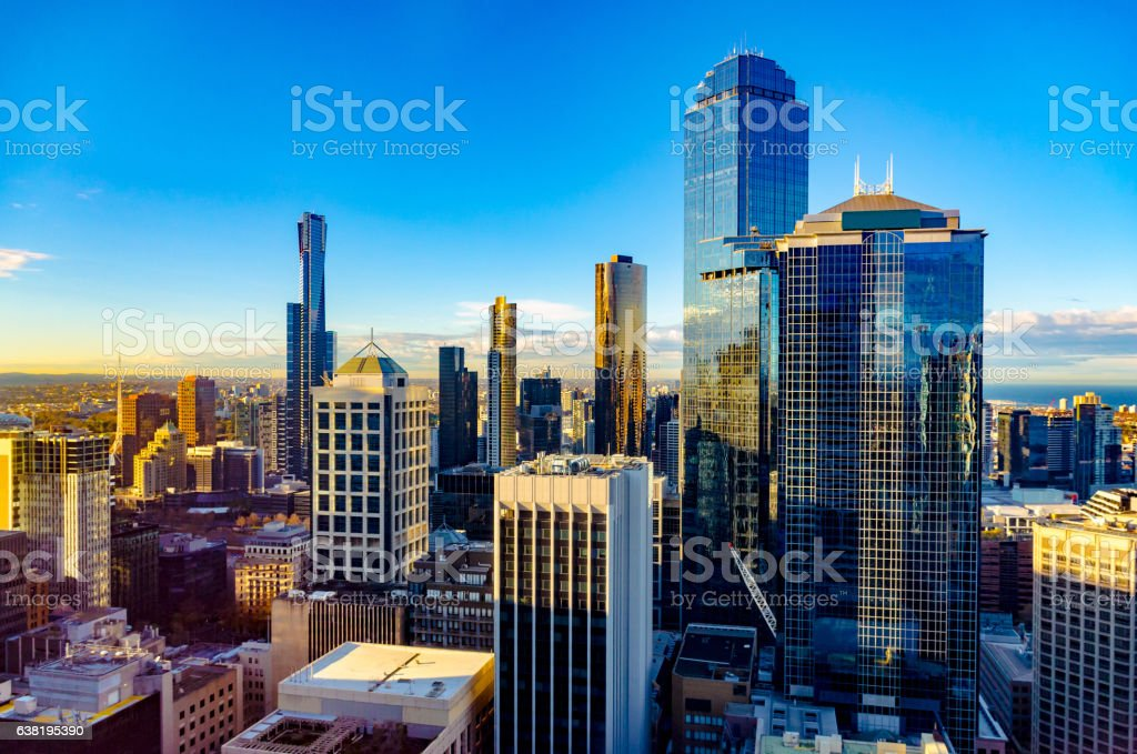 Looking East over Melbourne City at sunrise stock photo