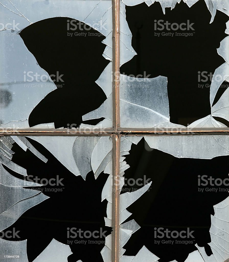 looking for a glazier 9 - shattered window glass stock photo