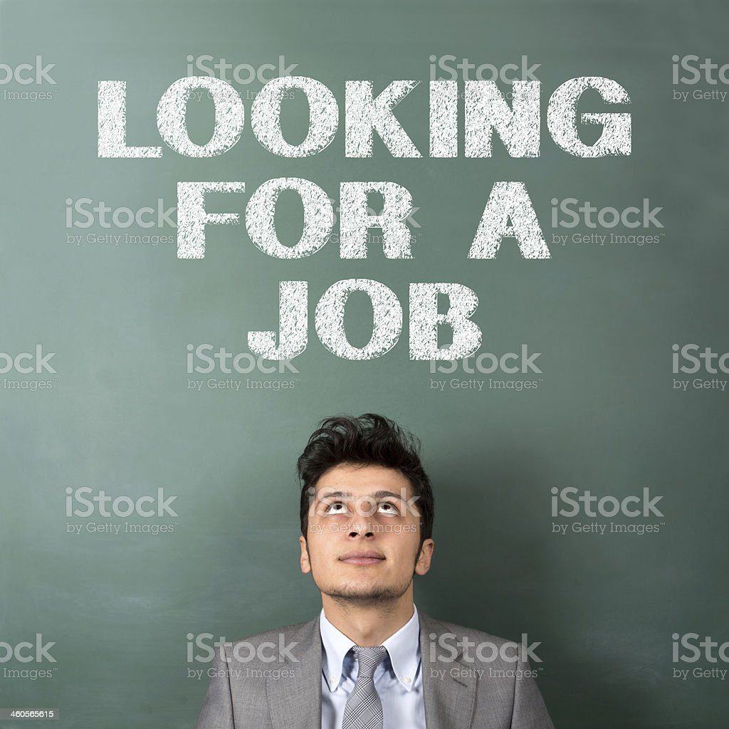 Looking for a job Concept on Blackboard stock photo
