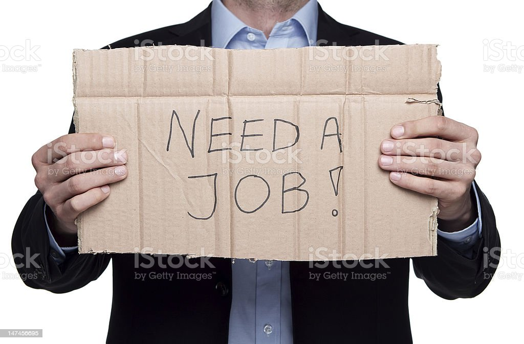 Looking for a job isolated on white royalty-free stock photo