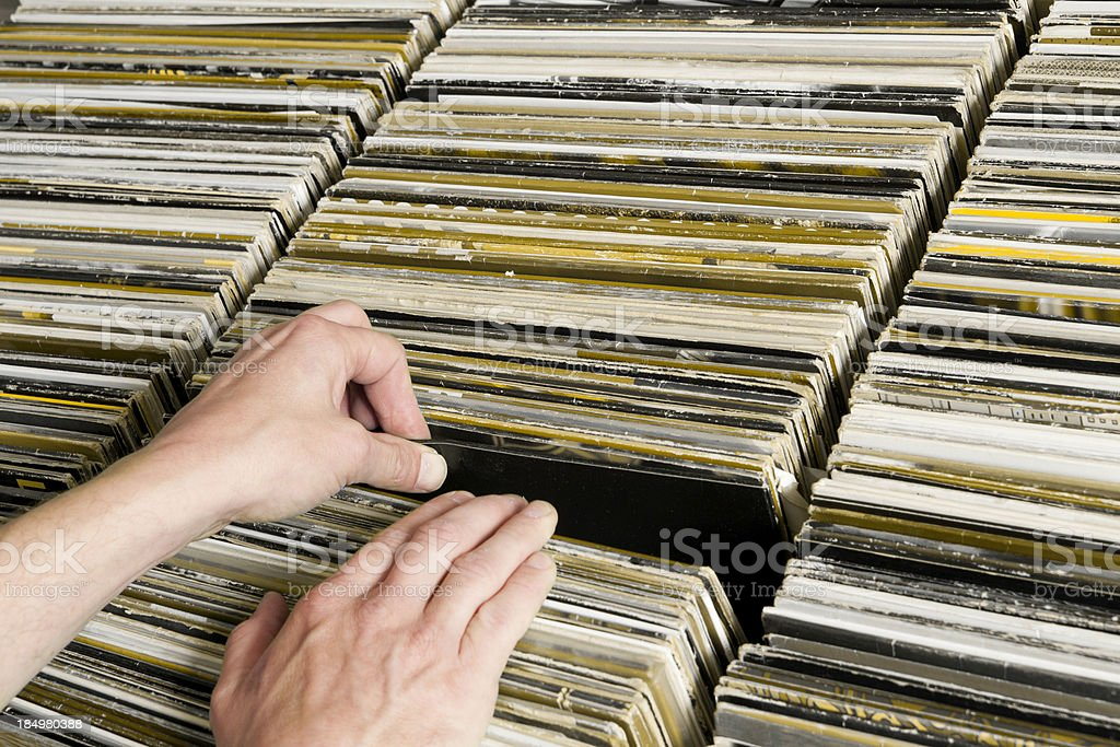 Looking for a Record stock photo