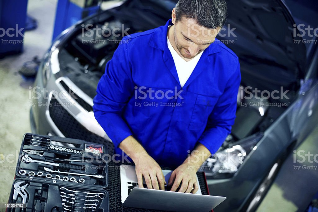 Looking for components online royalty-free stock photo