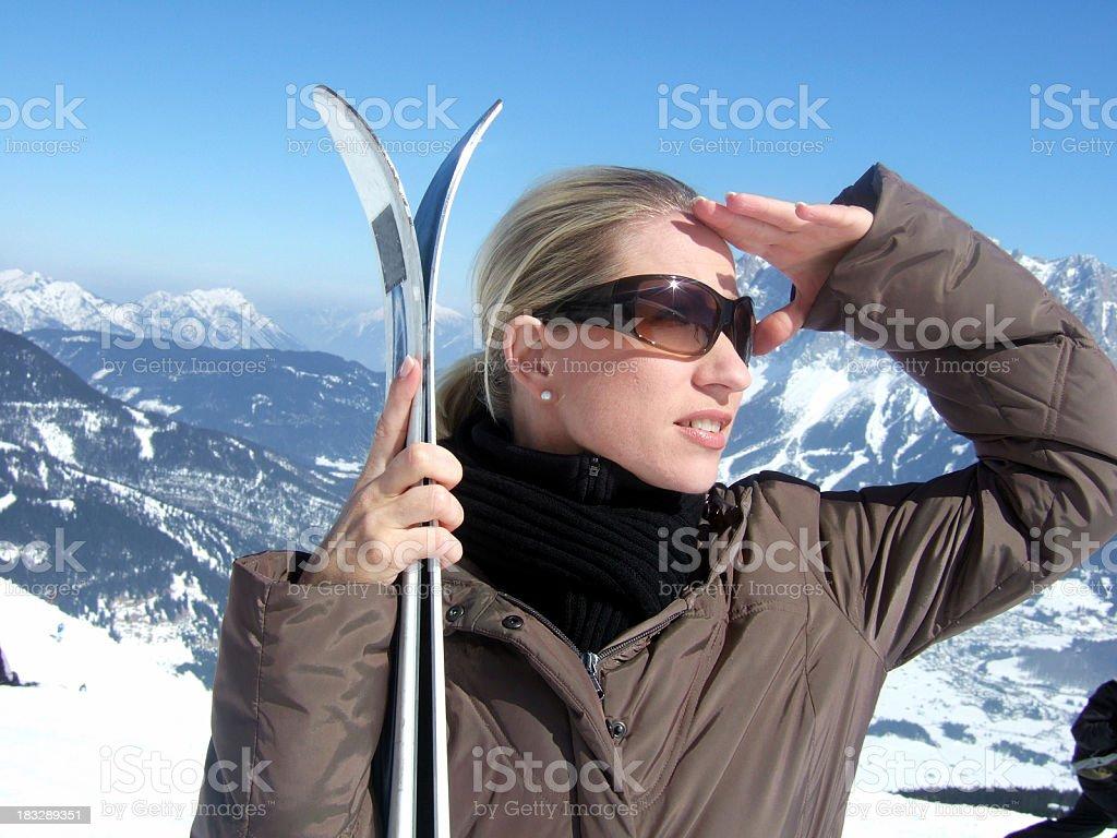 Looking for next ski-run royalty-free stock photo