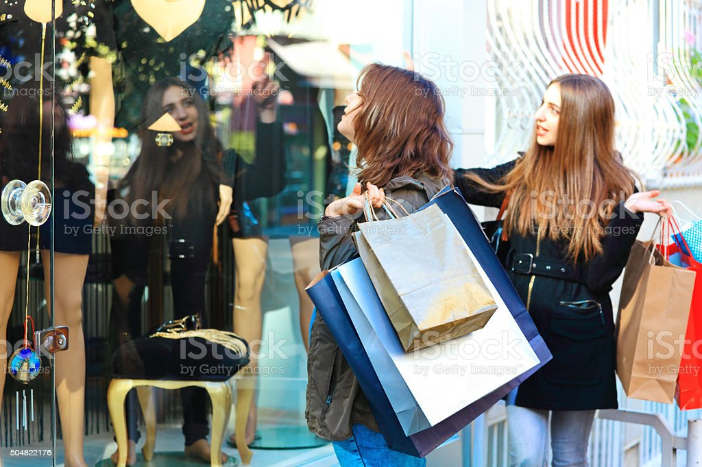 Looking for Present around Town Centre stock photo