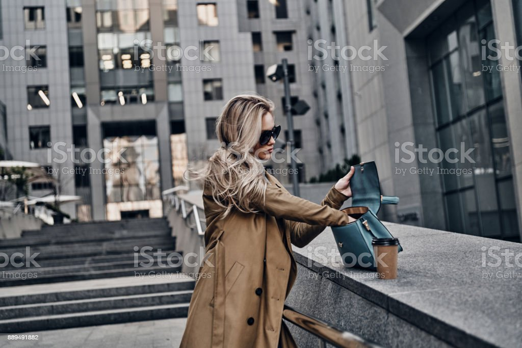 Looking for something. stock photo